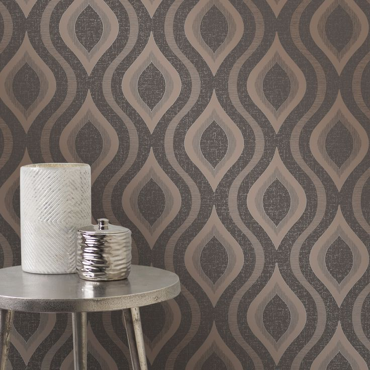 A stunning large scale textured vinyl geometric design in metallic bronze on a brown background with glitter highlights.