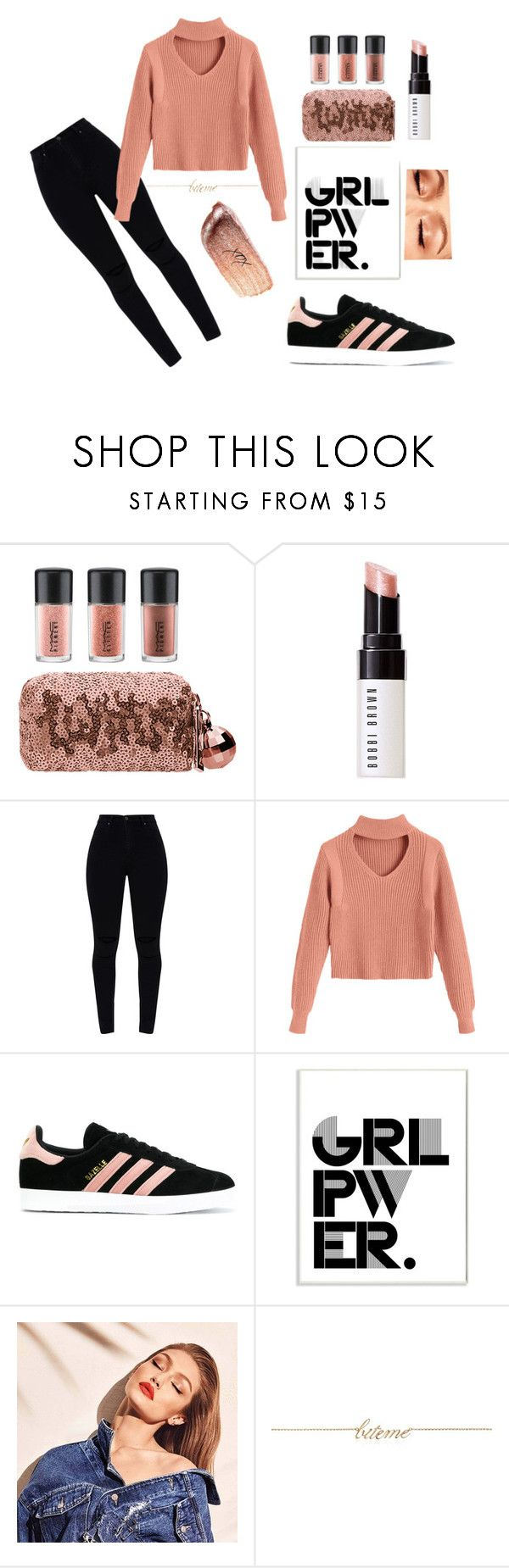 """Airport Mischief"" by tysonishere ❤ liked on Polyvore featuring MAC Cosmetics, Bobbi Brown Cosmetics, adidas, Stupell, Maybelline, Magdalena Frackowiak and Bite"