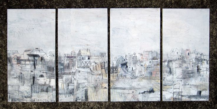 Seth Clark - The hills    4 panels, 11'' x 6'' each  collage, oil, graphite, charcoal, pastel on wood