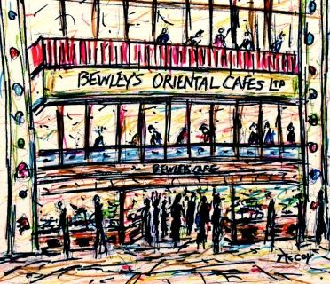Colourful sketch of the famous Bewley's Cafe in Grafton Street, Dublin, Ireland.  Materials: Winsor and Newton permanent ink pens on high quality heavy weight paper. Size: 23 × 20 cm One of a kind Artwork Sold Unframed Signed on the front FREE SHIPPING WORLDWIDE