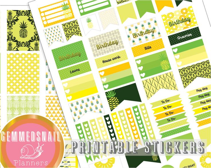 Pineapple planner stickers, printable stickers in pineapples, fits Erin Condren vertical planners and Mambi Happy Planners