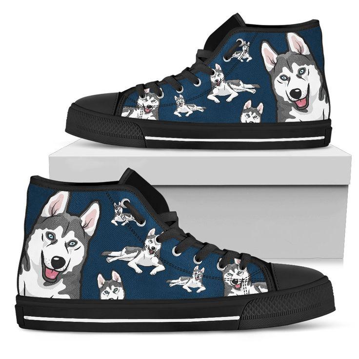 Funny Husky Dog High Top Shoes Husky Face Pattern – Vota Color