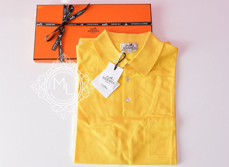 Hermes Men's Sports Jaune Yellow Polo Shirt X-Large - New