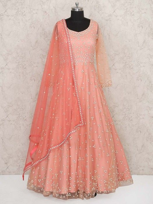 74ab2a3e Baby Pink Colored Wedding Wear Gown, latest design in gown, designer gown  for reception