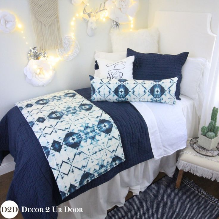 perfect for teen room makeover navy u0026 white ombre tribal designer teen girl bedding set