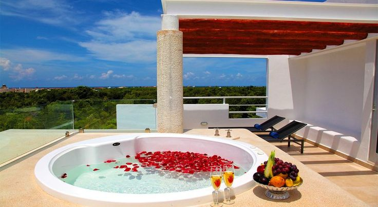 Rooftop Jacuzzi at the Luxury Bahia Principe Sian Kaan - It doesn't get much better than this!