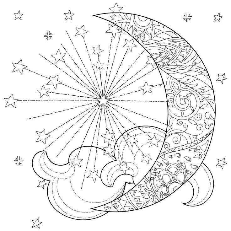 Mermaid Coloring Page by CandyHippie: Mermaid of the Moon ... |Moon Mermaid Coloring Pages