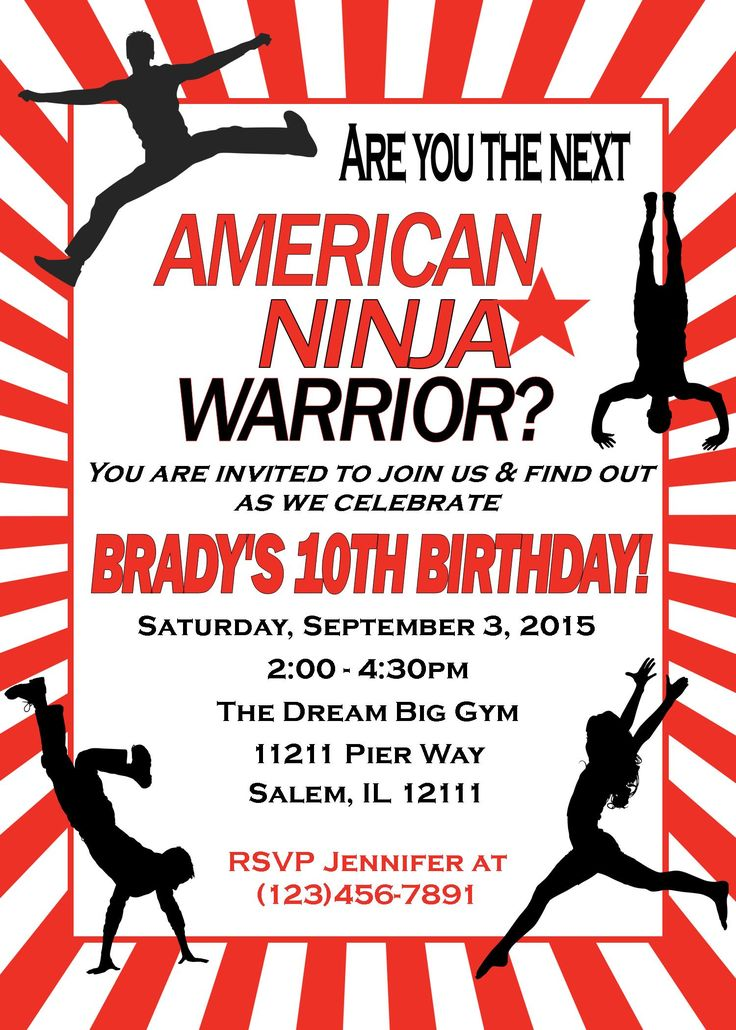 #American Ninja Warrior Birthday Invitation, American Ninja Warrior Invitation, American Ninja Warrior Birthday, American Ninja Warrior Party  Looking for an American Ninja Warrior Invitation?  Simply provide me with the wording and I will email you back the ready to print file within 12 hours!