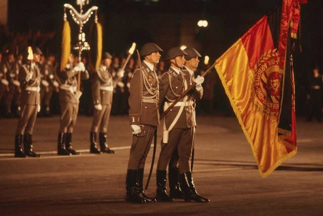 East German Flag Bearers During Parade