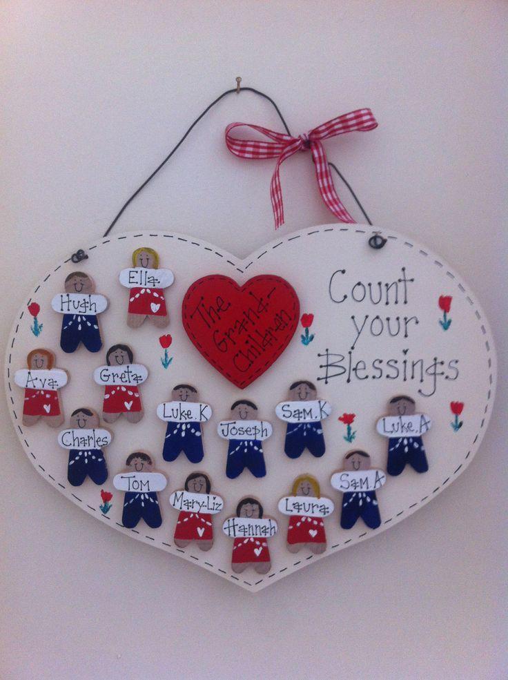 Count your blessings grandchildren plaque