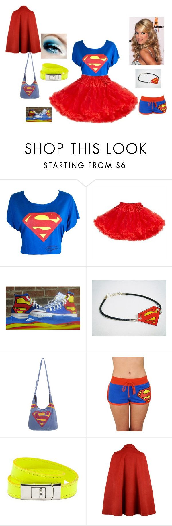 """superman-girl- costume"" by smilee-cilluhh ❤ liked on Polyvore featuring Retrò, Bioworld and CC SKYE"
