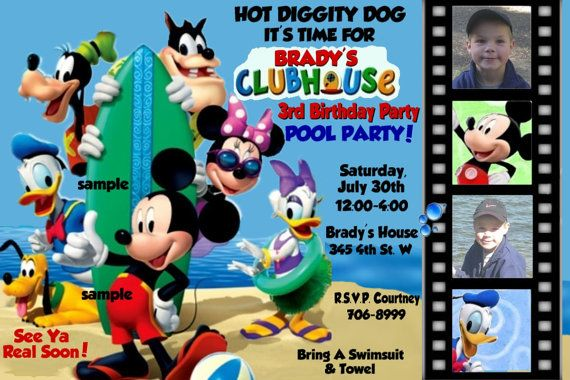 POOL PARTY Mickey Mouse Clubhouse Invitations - Digital File or Upload. $14.99, via Etsy.