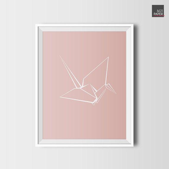 Origami wall art, Tsuru, bird prints, printable wall art, origami, minimalist, minimalist poster, nursery decor, girls room