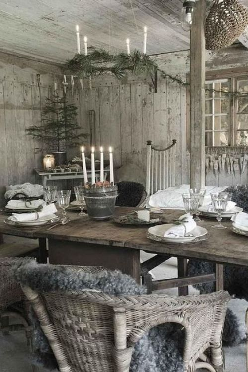 Rustic chic, distressed wicker and wood
