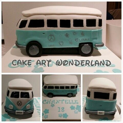 A VW Combi Van hand carved cake from white chocolate mudcake. Design was chosen by Chantelle's Mum & I tweaked it a bit. All decorations are edible. So glad you liked the cake Squidgy xx
