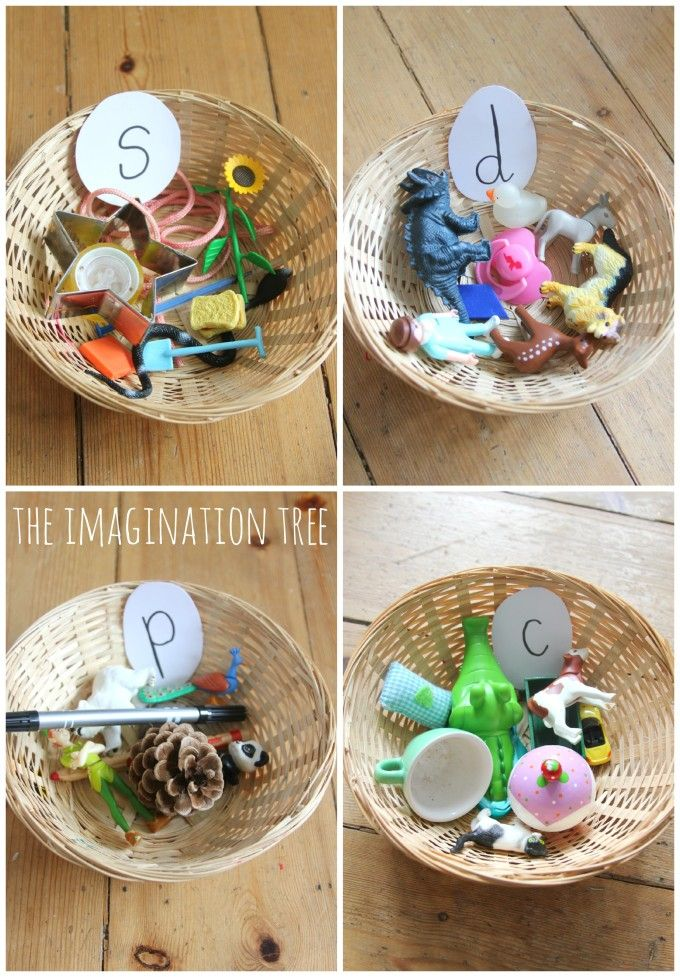 Sorting baskets! I love this hands-on phonics activity for kids. {The Imagination Tree}