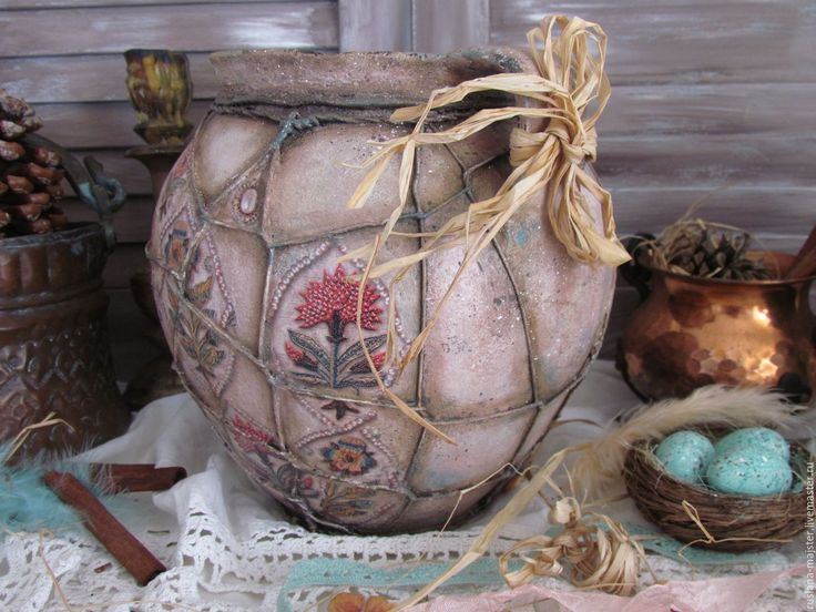 """Купить Старинный глечик """"Тихими , зимними вечерами..."""" - коралловый, бирюзовый, бежевый, орнамент, узор"""