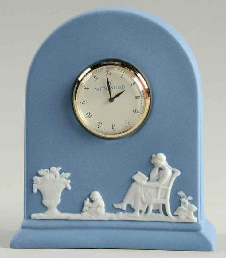Wedgwood JASPER CLASSIC WHITE ON PALE BLUE Mantel Clock 9009767. 4.5 inches tall.