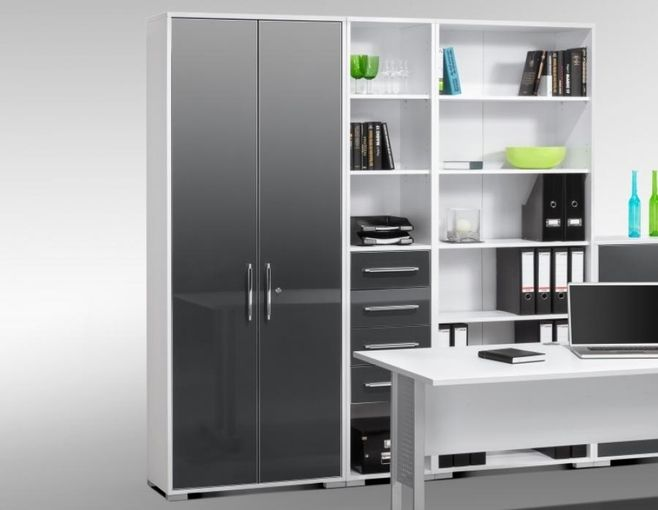 Maja Modern Office Storage Cabinets With Open Storage Area In Icy White And High Gloss Grey High Gloss Furniture Modern Office Storage Office Storage Cabinets