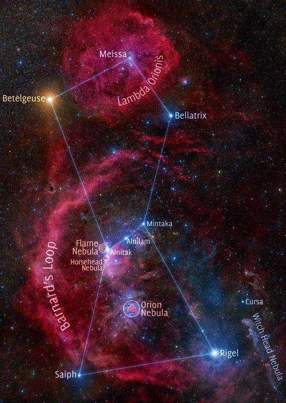 The constellation of Orion is rich with impressive nebulas. Of the many interesting details that particularly draws the eye is Barnard's Loop, the bright red circular filament arcing down from the middle. The bright orange star on the upper left is Betelgeuse, while the bright blue star on the lower right is Rigel. Other famous nebulas visible include the Witch Head Nebula, the Flame Nebula, and the comparatively small Horsehead Nebula. NASA-APOD, Stanislav Volskiy.