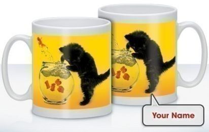 Personalised Cat Goes Fishing Mug - Treat that cat lover to a mug complete with their name on! Choose a name and it will feature alongside the mischievous cat trying to catch fish! #PersonalisedGifts #PetGifts #CatGifts #Cats £10.99
