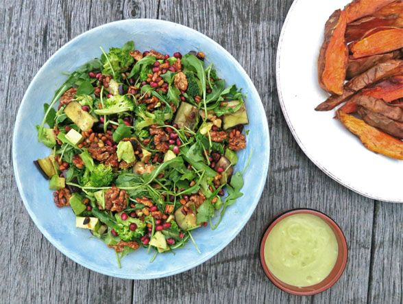 Toasted walnut, aubergine (eggplant) and pomegranate salad: vegan
