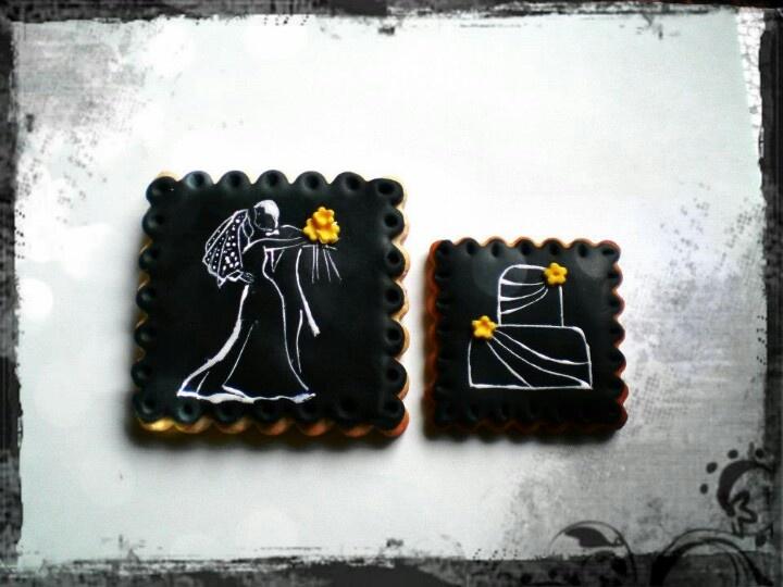 Galletas de boda  pintadas a mano