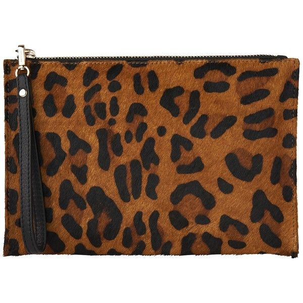 Whistles Leopard Print Wristlet Purse (1.136.595 IDR) ❤ liked on Polyvore featuring bags, handbags, clutches, leather purses, brown leather wristlet, evening handbags, handbags clutches and purse clutches