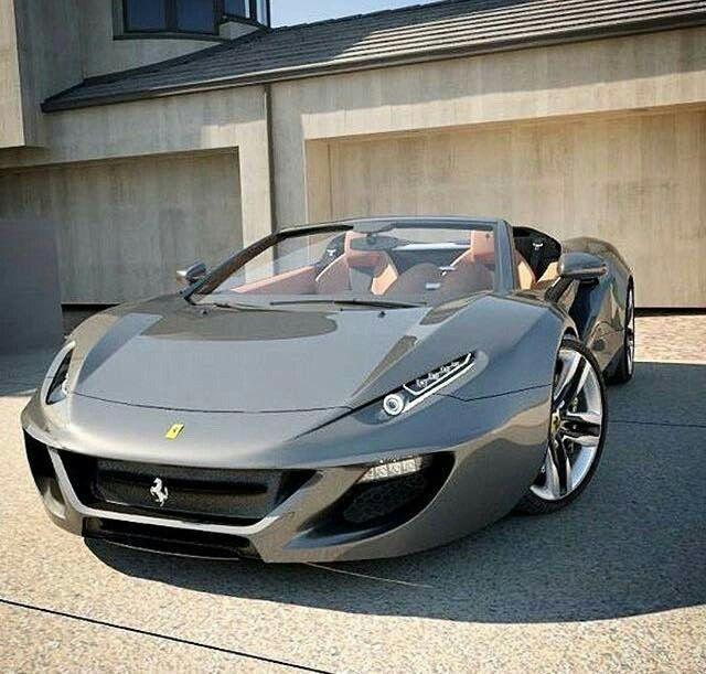 intéressant cabriolet prototype gris perle Ferrari