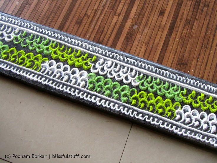 Beautiful and innovative border rangoli | Poonam Borkar rangoli designs