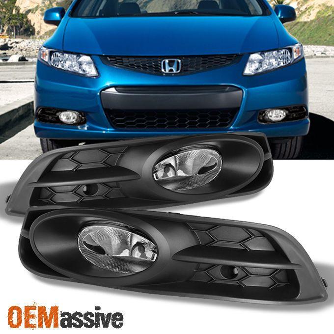 2012 2013 Civic 2 Doors Coupe Bumper Driving Clear Fog Lights w/Switch + Bulbs #OEMASSIVE