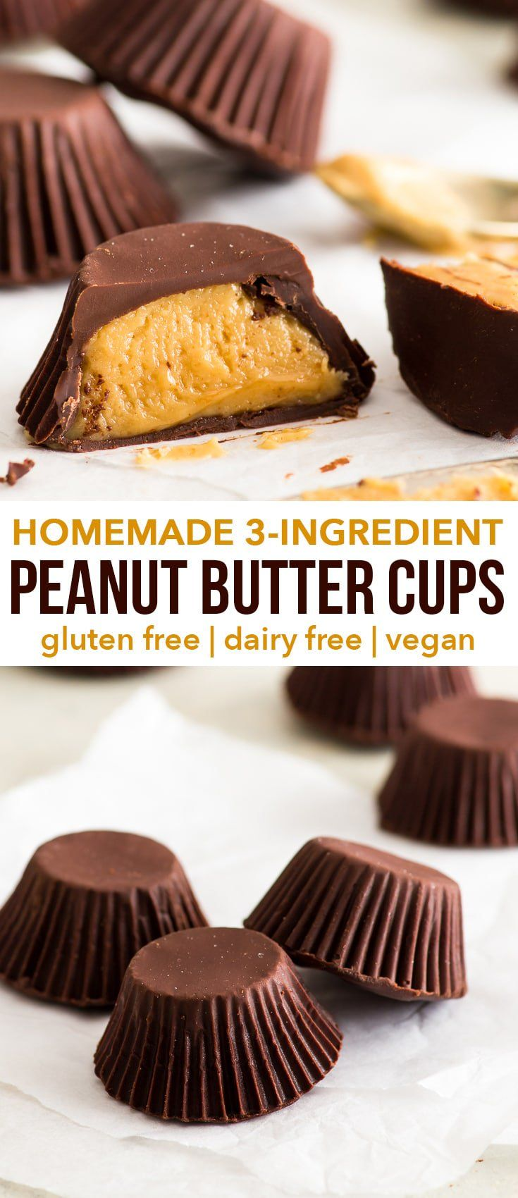 3-Ingredient Homemade Peanut Butter Cups {gluten, …