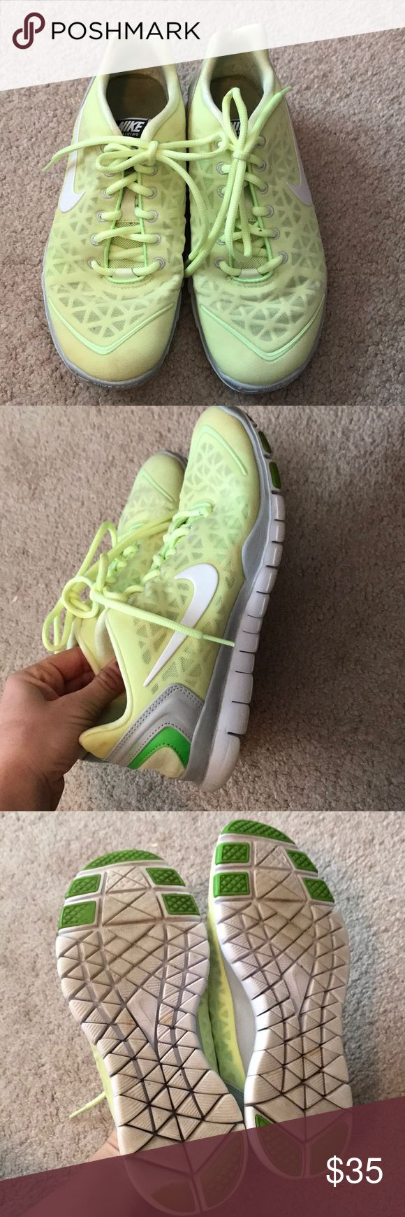 Nike free shoe Pistachio green Nike free athletic shoe. Size 7.5. Moderately loved. Discoloration on toe area of one and footbed. Have been washed. Overall lots of life left, very comfortable and really cool color! Nike Shoes Athletic Shoes