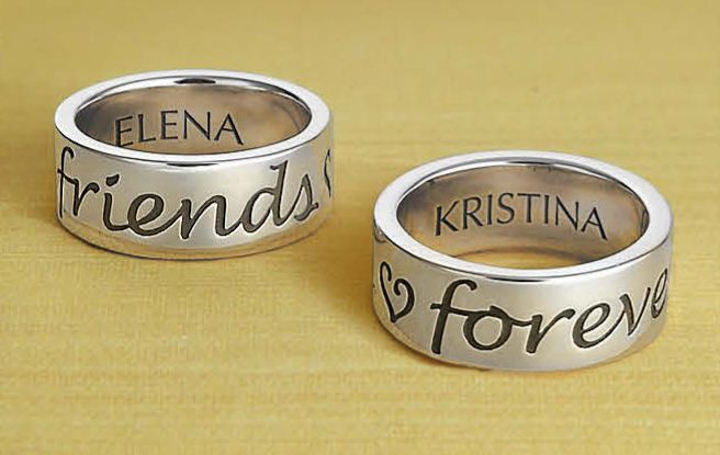 "For the best of friends, honor your special connection with our ""Friends Forever"" band. For a personal touch, add engraving to customize with a thoughtful inscription. #JamesAvery #engraving #PersonalizedJewelry #BestFriends"