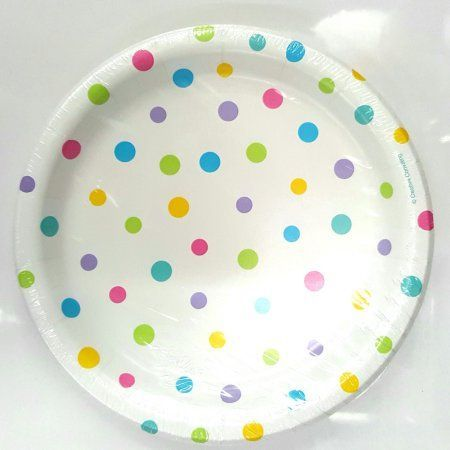 7 inch Gender Neutral Dots Round Lunch Plate 15-count