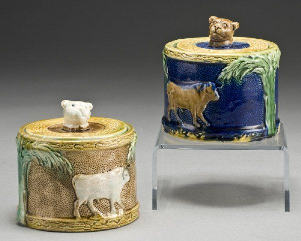 Lot: 13: (2) Majolica sugar bowls decorated with cows,, Lot Number: 0013, Starting Bid: $200, Auctioneer: Dallas Auction Gallery, Auction: Fine Art, Furniture, Porcelains, Bronzes, Date: October 14th, 2009 CDT