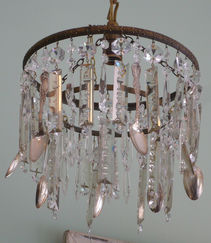 Antique French chandelier frame with vintage sterling spoons & antique  crystals KLD