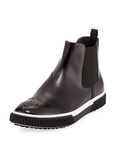 PRADA SLIP-ON LEATHER BROGUE CHELSEA BOOT, BLACK. #prada #shoes #