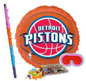 "Detroit Pistons Basketball - Pinata Party Pack Including Pinata, Pinata Candy and Toy Filler, Buster and Blindfold by Pinata. $42.05. Detroit Pistons Basketball - Pinata measures approximately 17"" in diameter and 3"" deep. Includes approximately 2 pounds of Candy and Toys. Caution: not recommended for children under 3 years of age. Includes one hard Plastic Pinata Buster that measures approximately 30"". Caution: use only under adult supervision. Includes one Blindfold with Elastic..."