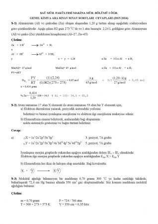 Genel Kimya Vize Soruları ve Cevapları - 2015