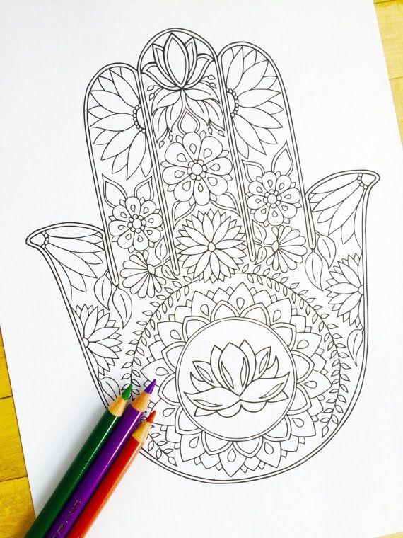 Hamsa Lotus - Hand Drawn Adult Coloring print