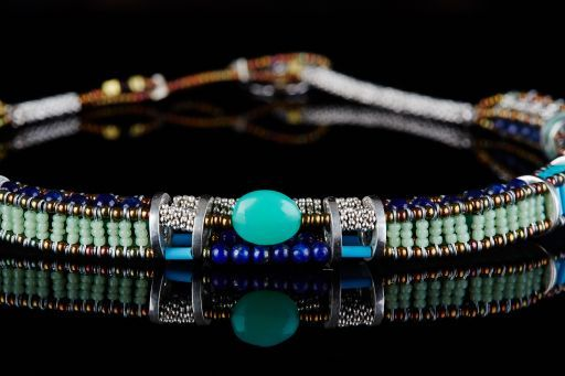 Choker with Chrysophrase, Lapis, Turquoise, Murano Glass and signature silver fastening (#1447).