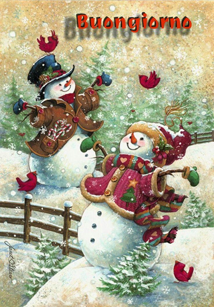 Buongiorno Immagini Natalizie.Buongiorno Con I Pupazzi Di Neve Auguri Di Buon Natale