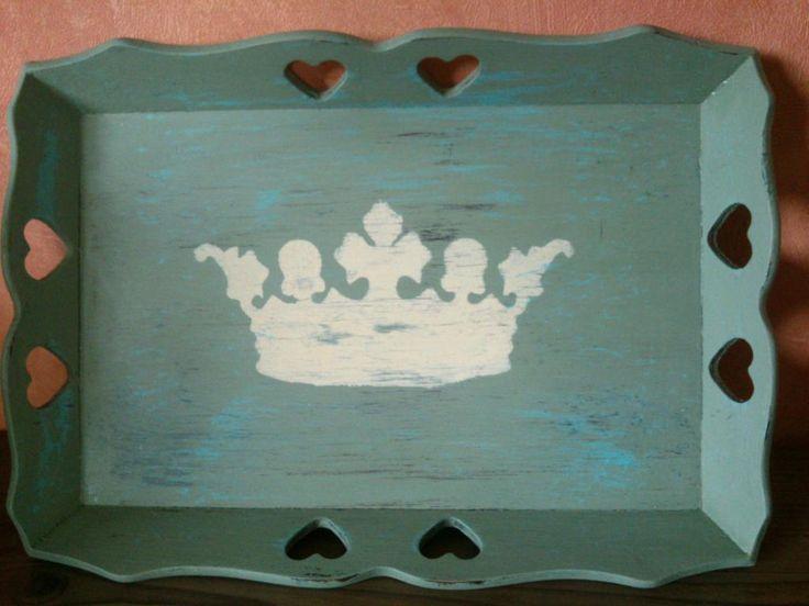 taca tacka vintage retro shabby hand made korona