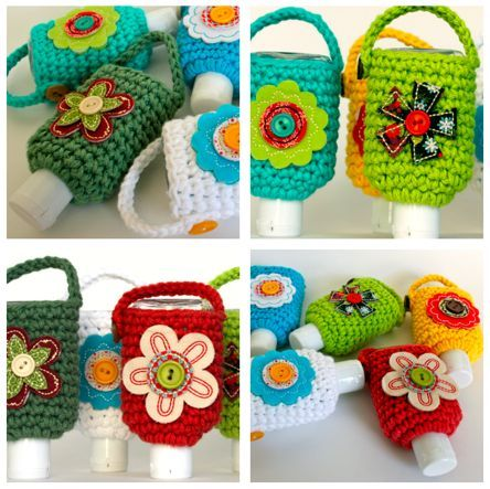 Hand Sanitizer Cozies - free pattern from micahmakes.  Fits a 2 oz. bottle; very convenient to hang on your purse strap, & takes very little yarn.  Embellish (or not) according to your imagination.  . . . .   ღTrish W ~ http://www.pinterest.com/trishw/  . . . .  #crochet