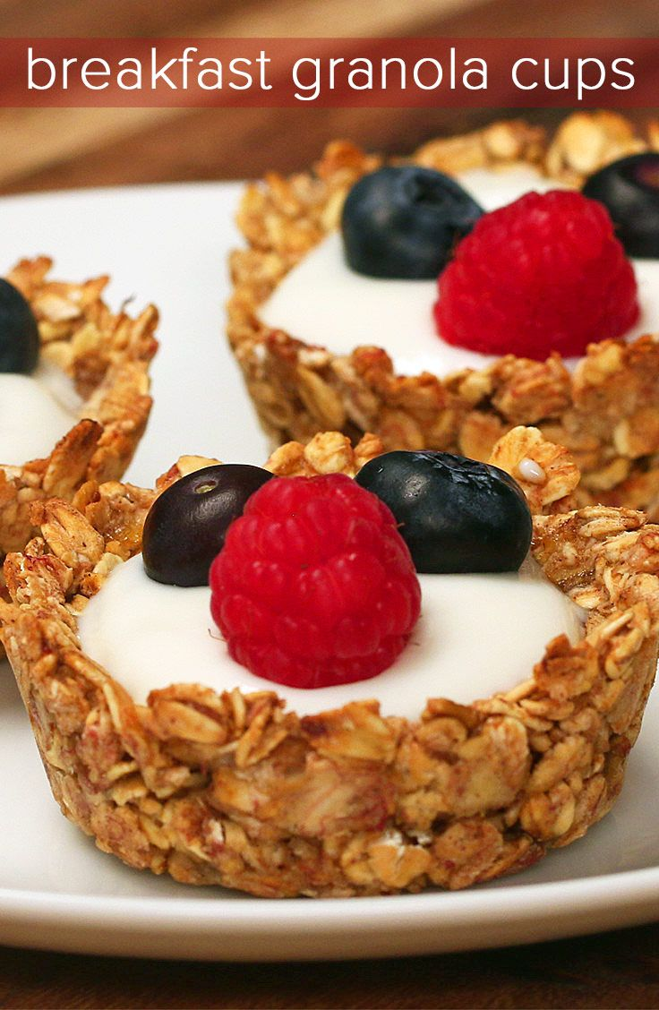Breakfast Granola Cups - I am going to roll them into bite size and try them without yogurt.