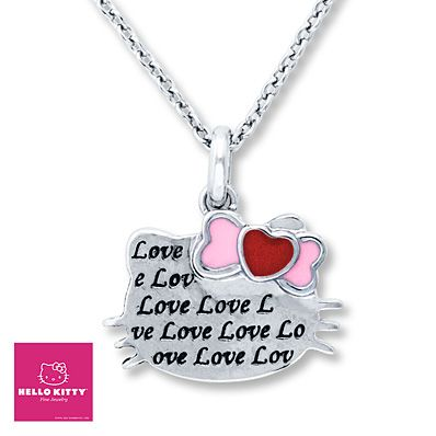 This would be a nice gift for Valentine's Day.....if I had a Valentine!!  Hello Kitty Love Necklace Sterling Silver