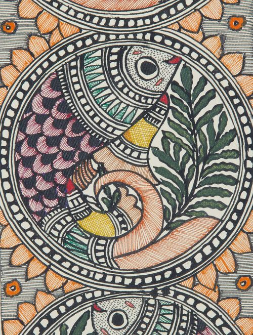 Multicolor Fish Madhubani Painting- 15in x 5.5in