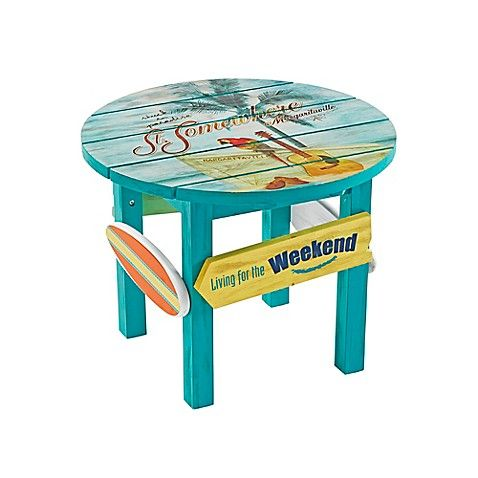 Margaritaville Outdoor Clic Wood Round Side Table In Blue Patio Seating