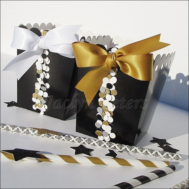 #BlackandGold #confetti Favor #PopcornBoxes
